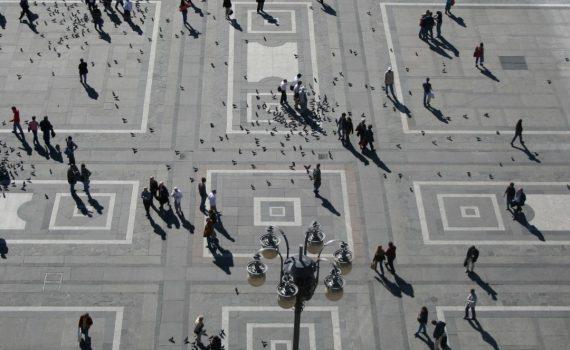piazza duomo milano vista dall'alto,milan aereal view;